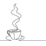 Непрерывная линия чертеж чашки кофе Стоковая Фотография