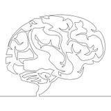 Непрерывная линия вектор дизайна мозга чертежа иллюстрация штока