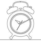 Непрерывная линия вектор чертежа будильника бесплатная иллюстрация