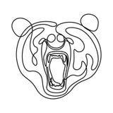 Непрерывная линия голова медведя неистовства, медведь спутывать r иллюстрация вектора
