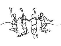 Непрерывная линия группа в составе чертежа мальчики и девушки скача для счастливого r иллюстрация штока