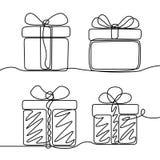 Непрерывная линия набор чертежа коробки подарков Тема Нового Года и счастливого рождеств иллюстрация штока