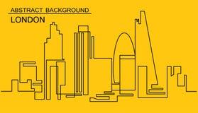 Непрерывная линия чертеж горизонта вектора Одна линия городской пейзаж Лондона стиля Простая современная метрополия минималистичн Стоковые Изображения
