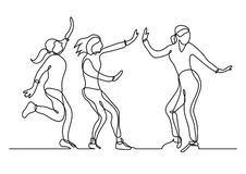 Непрерывная линия чертеж группы в составе девушки имея потеху бесплатная иллюстрация