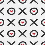 Непрерывный текст Xoxo и сердца Романтичная безшовная картина иллюстрация штока