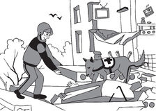 Непредвиденные спаситель и собака иллюстрация вектора