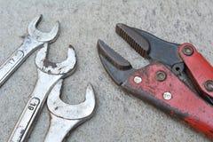 Непредвиденный набор, инструмент автомобиля, гаечный ключ Стоковые Изображения