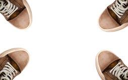 Непринужденный стиль кожаных ботинок на белой предпосылке Стоковые Фотографии RF
