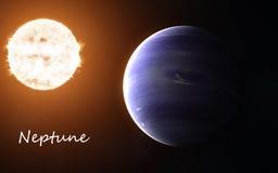 Нептун против предпосылки Солнця venus солнечной системы путя ртути фокуса земли клиппирования Абстрактная научная фантастика Эле стоковое фото rf