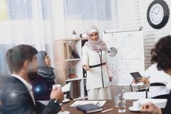 Неработающий арабский человек в кресло-коляске работая в офисе Человек и женский сотрудник показывают диаграммы на whiteboard Стоковая Фотография