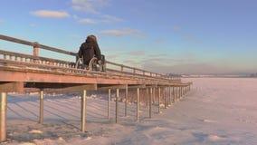 Неработающий человек на кресло-коляске медленно управляет через пешеходный мост сток-видео