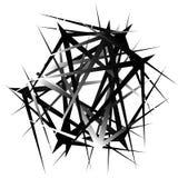 Нервные, остроконечные случайные перекрывая формы абстрактное искусство иллюстрация вектора