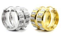 Нержавеющая сталь серег золота и серебра Стоковое Изображение RF