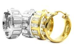 Нержавеющая сталь серег золота и серебра Стоковое Изображение