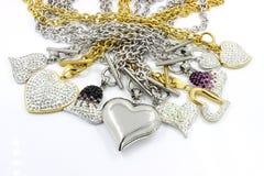 Нержавеющая сталь сердца смешивания с кристаллами Стоковые Фото