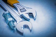 Нержавеющий болт ключа открыт-конца разводного гаечного ключа Стоковое Изображение RF
