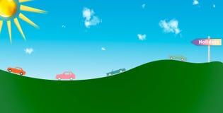 Несколько автомобилей возглавляя к их празднику Стоковая Фотография RF