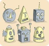 Несколько головки робота стар-школы Стоковое Фото