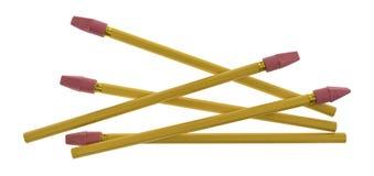 Несколько карандашей желтого цвета с крышками ластика Стоковое Изображение RF