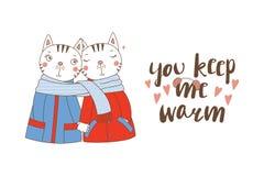 Несколько коты обернутые в одном шарфе иллюстрация вектора