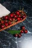Несколько красных сладостных вишни и больших зеленых лист на таблице Fres Стоковые Фотографии RF