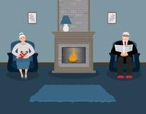 Несколько престарелое сидит камином в красивой уютной голубой живущей комнате иллюстрация вектора
