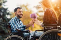 Несколько invalids на кресло-колясках встречали в парке Человек дает букет цветков к женщине Стоковые Изображения RF