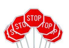Нескольк знак СТОПА изолированный на белизне Стоковое Изображение RF