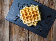 Несколько бельгийских waffles с шоколадом Стоковая Фотография RF