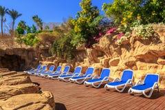 Несколько из loungers солнца красивым бассейном Стоковое фото RF