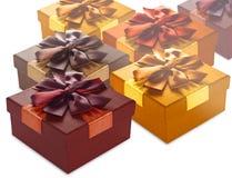 Несколько красочных подарочных коробок Стоковые Фото