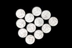 Несколько монеток русского рубля Стоковая Фотография