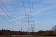 Несколько рангоутов электричества Стоковая Фотография RF