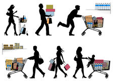 Несколько людей, ходя по магазинам - силуэты вектора Стоковое Изображение RF