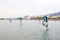 Несколько windsurfers уча около побережья Стоковая Фотография RF