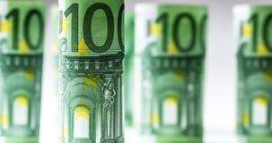 Нескольк 100 банкнот евро штабелированных значением Банкноты евро Rolls Деньги валюты евро Стоковое Изображение RF