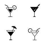 Нескольк стиль значков коктеиля Стоковое Фото