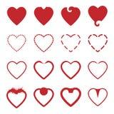Нескольк стиль красных установленных значков сердца иллюстрация вектора