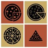 Нескольк стиль установленных значков пиццы Стоковые Изображения RF