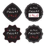 Нескольк черные значок продажи пятницы и комплект ярлыка Стоковое фото RF