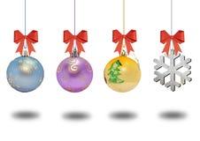 Нескольк шарик рождества декоративный с смычком на белой предпосылке Стоковое Фото