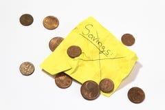 Неспособный для сохранения денег, сморщенного примечания говоря сбережения и пенни евро стоковые изображения