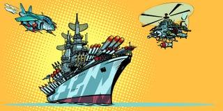 Несущая военного самолета с реактивными истребителями и вертолетами бесплатная иллюстрация