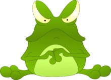 Несчастная зеленая жаба, с плохим настроением жабы стоковая фотография rf