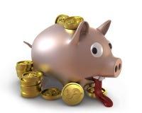 несчастное переполненное банком piggy Стоковые Изображения RF