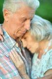 Несчастные старшие пары представляя в парке лета стоковое фото rf