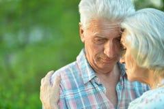 Несчастные старшие пары представляя в парке лета стоковые изображения rf