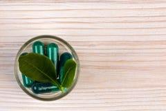 Нетрадиционная медицина с зеленым взгляд сверху лист Стоковые Изображения RF