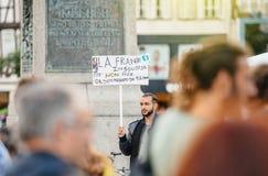 Нет к законам Macron - протестующие в городе как Melenchon вызвали для d Стоковые Фотографии RF