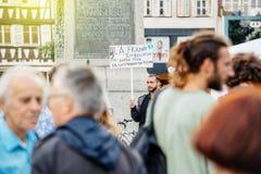 Нет к законам Macron - протестующие в городе как Melenchon вызвали для d Стоковое Изображение RF